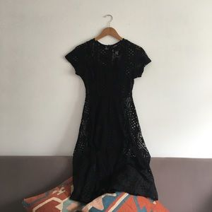 Prairie Goth Black Lace A-Line Swing Dress